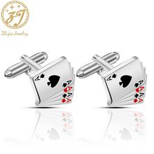 Zhijia creative unique 4A Playing card style cufflinks cuff nails mens French button gifts for men