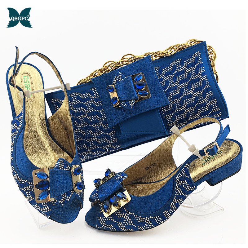 Wedding Shoes Bride Cristaly Buckle Strap African Shoes and Bags Matching Set African Wedding Italian Shoe and Bag Sets Ladies