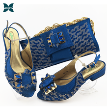 African Shoes Shoe-And-Bag-Sets Matching-Set Bride Cristaly-Buckle-Strap Ladies Bags