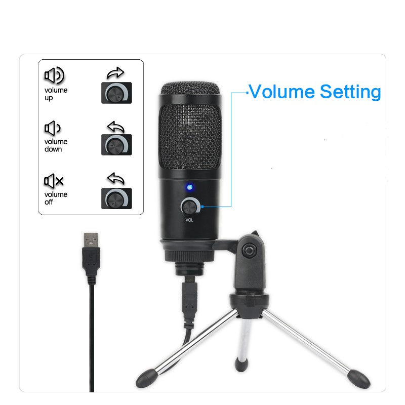 Desktop Condenser Microphone for YouTube Videos Live Broadcast Online Meeting Skype USB Microphone For PC Laptop MAC Windows image