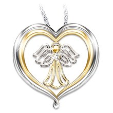 Lovely Little Angel Pendant Fashion Simple heart-shaped Gold And Silver double-color Jewelry Necklace(China)