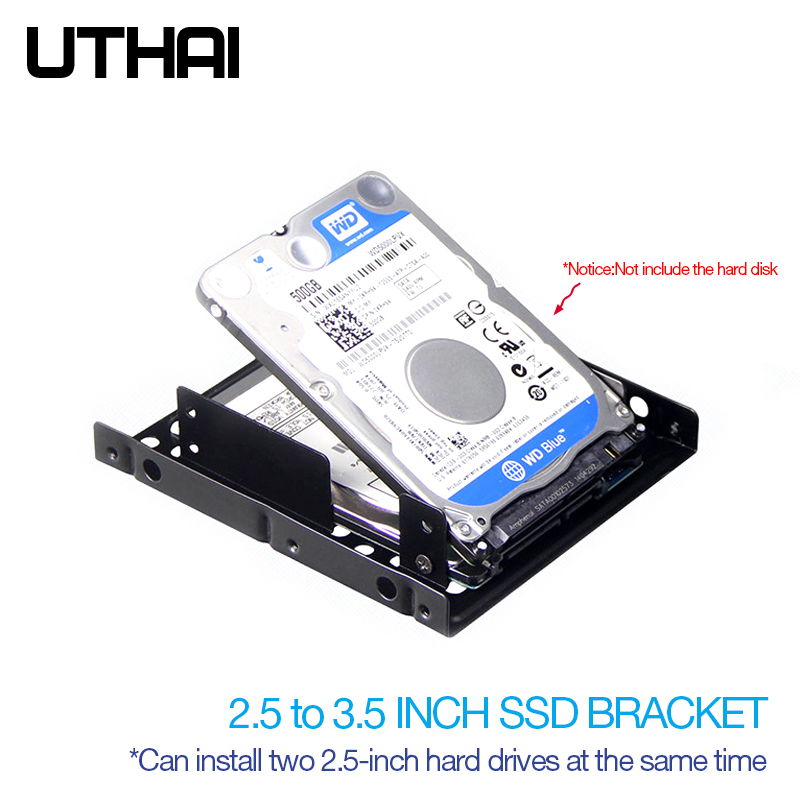 UTHAI G16 Thick Double-layer Hard Drive Bracket 2.5 To 3.5 Inch Hard Disk Bay Notebook/Laptop Solid State Drive Bracket  SSD