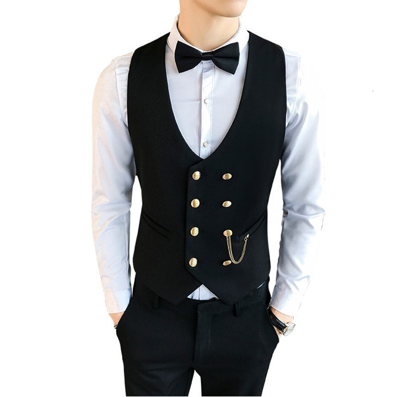 2019 Suit Vest Men Sleeveless Vest Fashion Spring Plus Size Waistcoat Double-breasted Chaleco Hombre Solid Slim Fit Vest Men