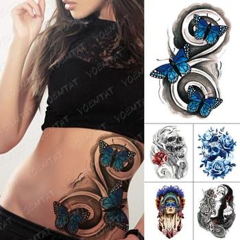 Tatuaje temporal a prueba de agua pegatina mariposa cintura tótem Flash tatuajes cráneo chica India arte corporal brazo Tatuaje falso mujeres hombres