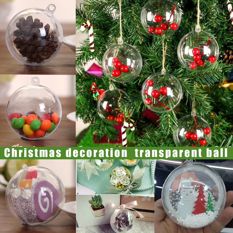 100×DIY Clear Craft Balls Baubles Sphere Fillable Box Christmas Tree Ornament