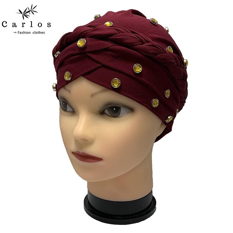 Newest Elegant Turban Hats Women Cap Beaded For India Hat Scarfs Head Wrap Headband Girl Hair Accessories Lady