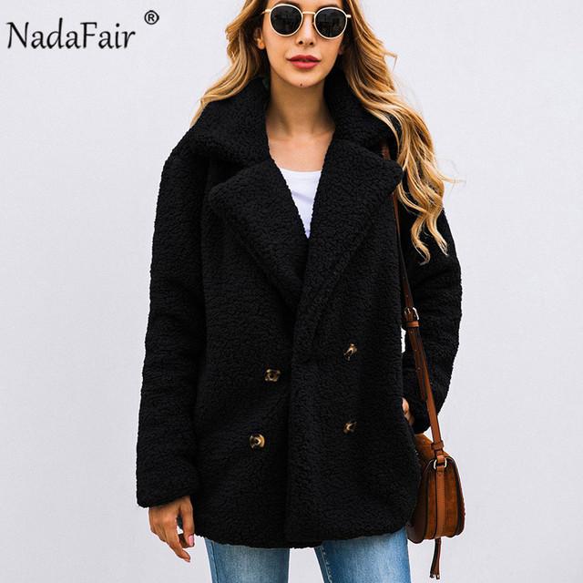 Nadafair Casual Teddy Coat Winter Fleece Plus Size Warm Thick Faux Fur Jacket Coat Women Pockets Plush Overcoat Outwear
