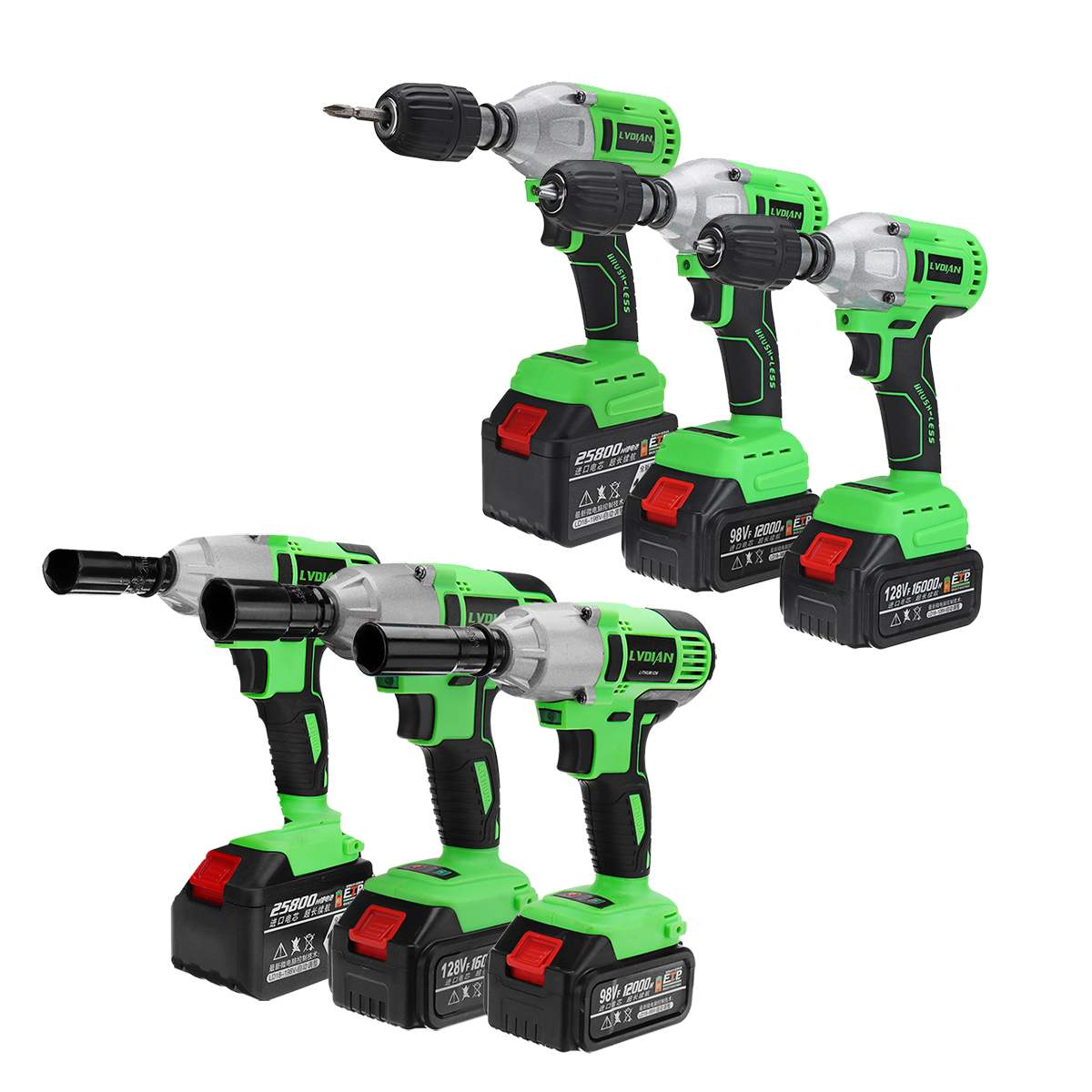 Electric Wrench Brushless Cordless Impact Wrench Kit 17pcs US Plug Non-slip Driver Hand Drill Socket Battery with LED Work Light