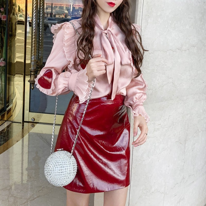 Sweet Style Chic Elegant Women 2 Piece Outfits Love Ruffles Bow Slim Fit Satin Shirt Top High Waist Red PU Leather A-Line Skirt