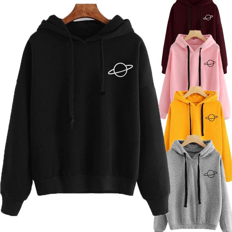 OEAK Women Hoodies Casual Kpop Planet Print Solid Loose Drawstring Sweatshirt Long Sleeve Hooded 2019 Autumn Female Pullover