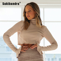 Sukibandra Autumn Turtleneck Long Sleeve Crop Top for Women Flare Sleeve Sexy Pink T Shirt 2019 Fall Black Casual Tee Tshirt