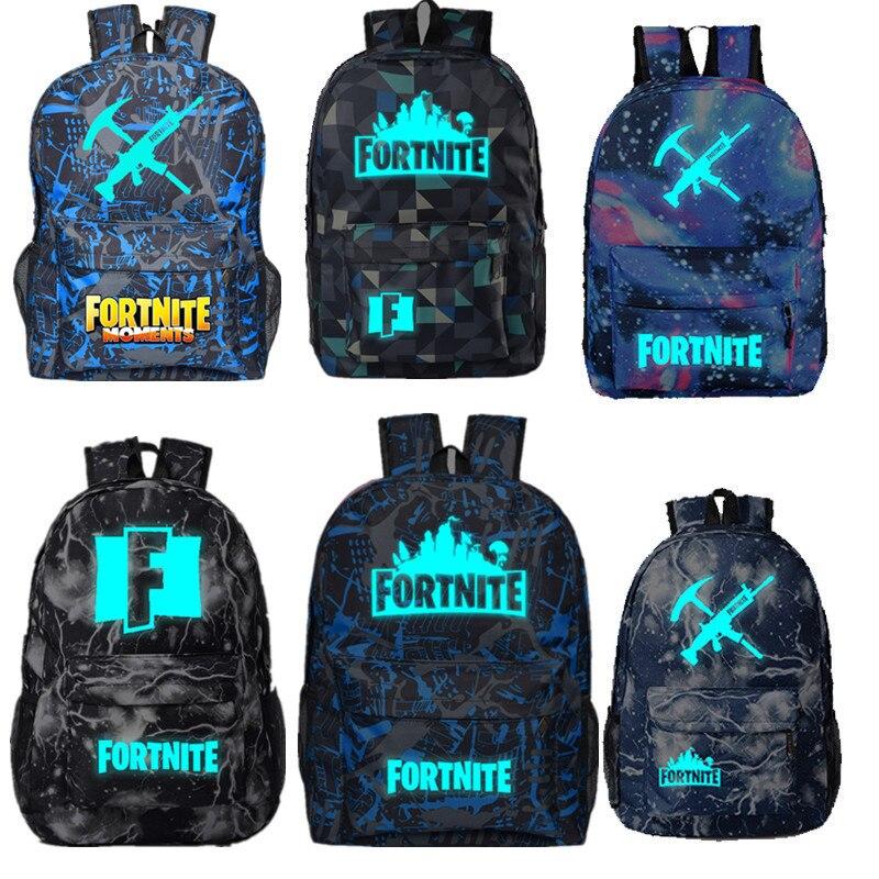 Mochila Unisex para hombre y mujer, Fortnites luminosos Rusksack, juego de Anime, mochila escolar con estampado de dibujos animados, mochila de viaje con lienzo de estudiante, mochila de viaje