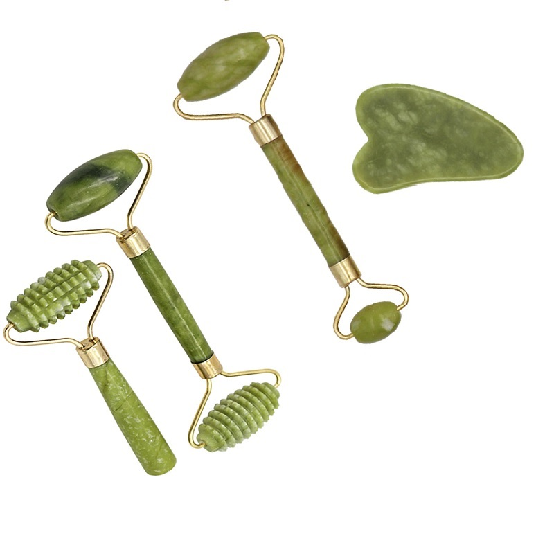 1pc Facial Massage Roller Plate Double/Single Heads Jade Stone Massager Eye Face Neck Thin Lift Relax Slimming Tools 4 Sizes