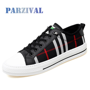 PARZIVAL Men Fashion Sneakers Fashion Mens Breathable Skateboard Shoes High Quality Trainers Shoes Casual Genuine Leather Shoes 1