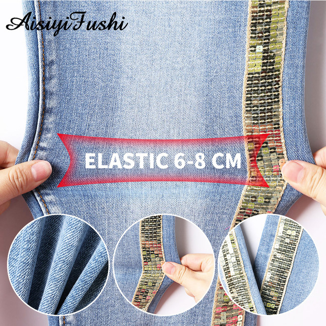 Patchwork Skinny Sequined Jeans with Stripes for Women Denim Trouser Jeans Female Stretch Pencil Pants Side Striped Blue Jeans
