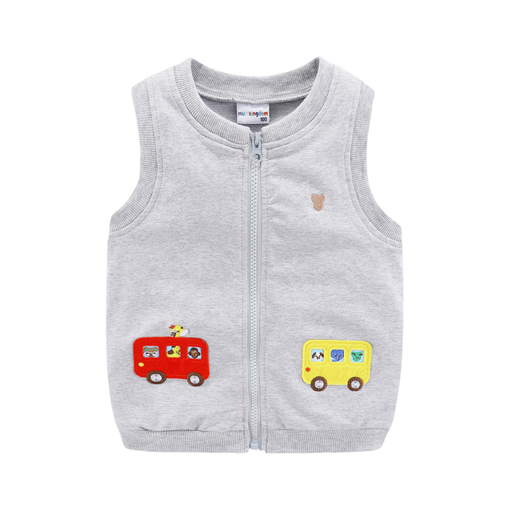 Mudkingdom Boys Vests Kids Jackets Cartoon Car Zipper 2020 Spring Autumn Sleeveless Jackets for Kids 3
