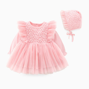 Image 2 - New Born Baby Girl Clothes Sets Formal  Lace Baptism Dress Baby Girl for Party Wedding 0 3 6 Months Infant Christening Dress