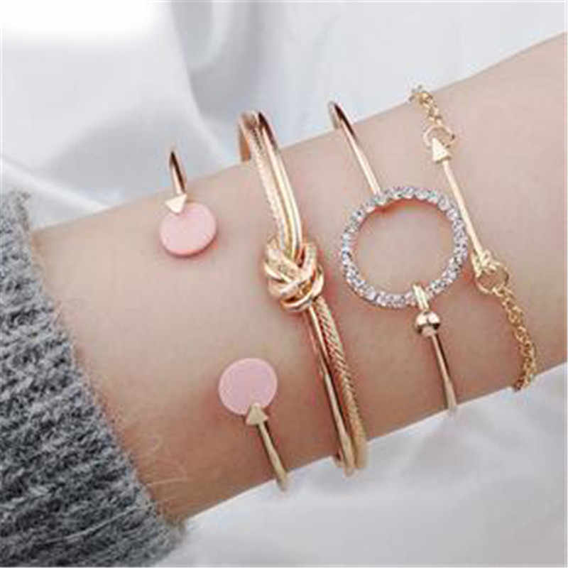 PICKYZ 4pcs/Set Charm Romantic Pink Crystal Open Cuff Bangles/Bracelet For Women Alloy Arrow Link Chain Twist Bangle Gold Metal