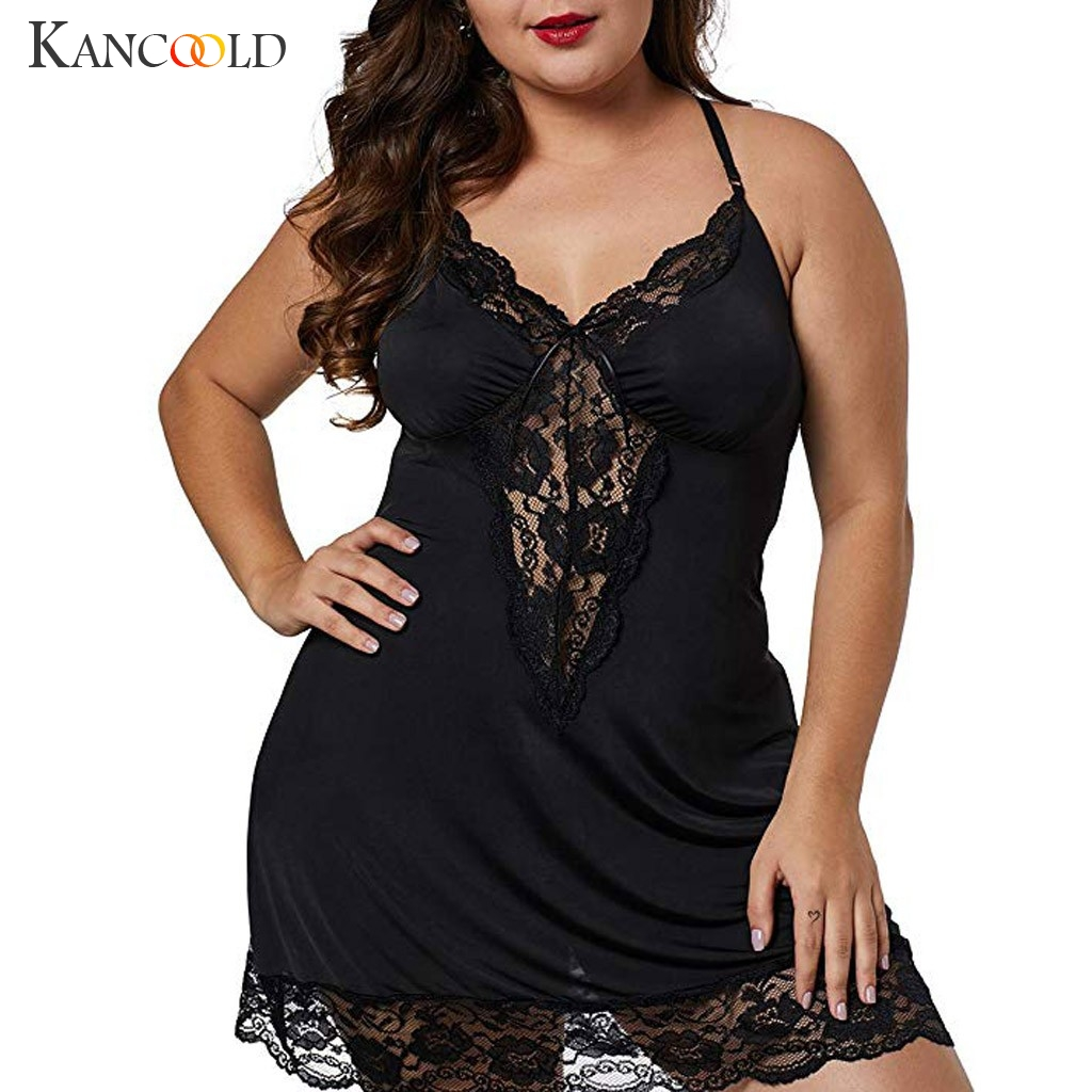 KANCOOLD  Big Size Women Sleepwear Dress Plus Size Sexy Lingerie Robe Spaghetti Strap Lace Satin Large Chemises Nightgown XL-4XL