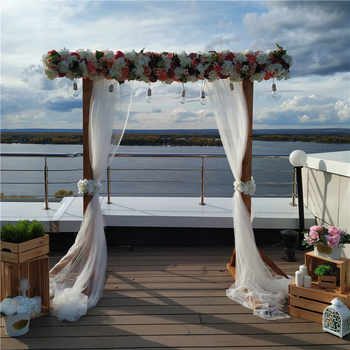 2M luxury wedding Road cited flowers rose peony hydrangea mix DIY arched door Flower Row Window T station wedding decoration