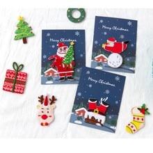 Счастливого Рождества ткань вышитые наклейки DIY милый Скрапбукинг мини-наклейки мешок ткань украшение олень дерево снежинка дизайн