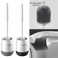 Silicone Soft Bristle TPR Toilet Brush Bathroom Toilet Bowl Cleaning Brush Wall Hanging Holder Set Rubber Floor Cleaning Cleaner|Cleaning Brushes| |  -