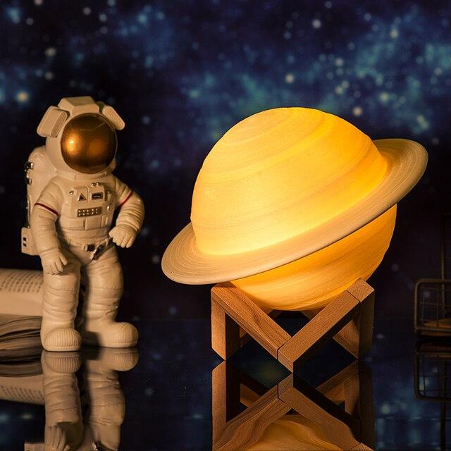 2019 Mới Trang Sức Giọt Sạc 3D In Sao Thổ Đèn Như Đèn Trung Thu Ánh Sáng Ban Đêm Cho Mặt Trăng Với 2 Đèn Màu 16 màu Sắc Từ Xa Quà Tặng