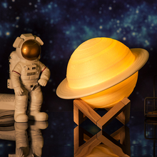 2019 NEUE Dropship Wiederaufladbare 3D Druck Saturn Lampe Wie Mond Lampe Nacht Licht Für Mond licht mit 2 Farben 16 farben Remote Geschenke