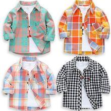 Новинка года, рубашки для маленьких мальчиков клетчатая рубашка с длинными рукавами для детей, весенне-Осенняя детская одежда повседневные хлопковые рубашки топы для детей от 24 месяцев до 9 лет