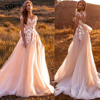 LORIE Sweetheart Blush Tulle Wedding Dresses Lace Appliques Cap Sleeve Bridal Gowns Princess Wedding Party Dresses Sweep Train
