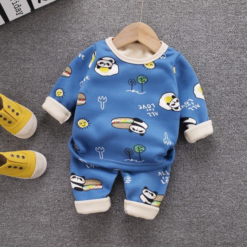 12M-8 Years 2Pcs/Set Pajamas Children's Underwear Suit Cartoon Velvet Warm Girl's Clothes of Winter Baby Boys Babies Clothes 2