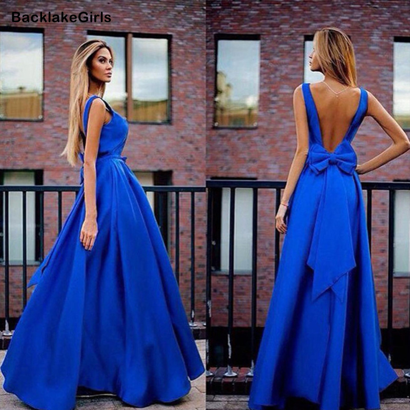 Elegant Royal Blue Sexy V Neck Satin Long Dresses For Wedding Party Summer Prom Evening Gowns Maxi Dresses Vestidos