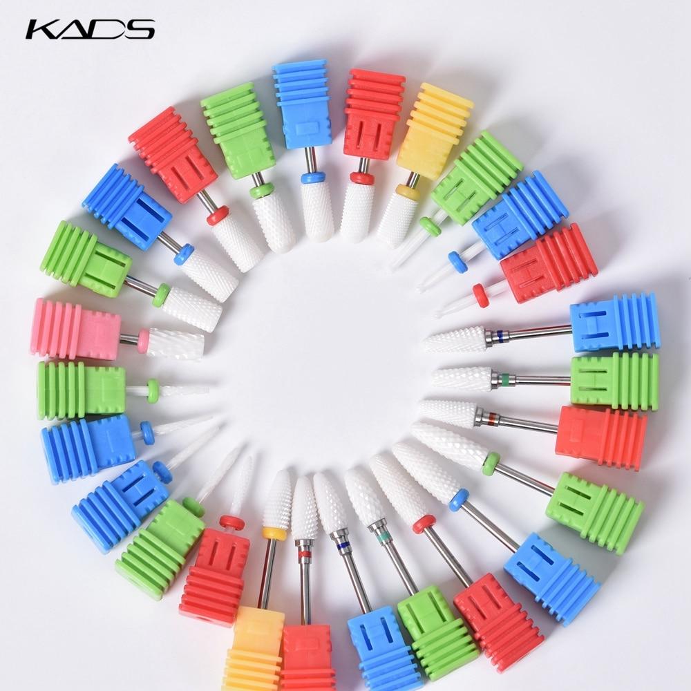 "KADS Ceramic Diamond Nail Drill Bit Milling Cutter 3/32"" Electric Nail Rotary Burr Cuticle Manicure Pedicure Drill Bit Tool"