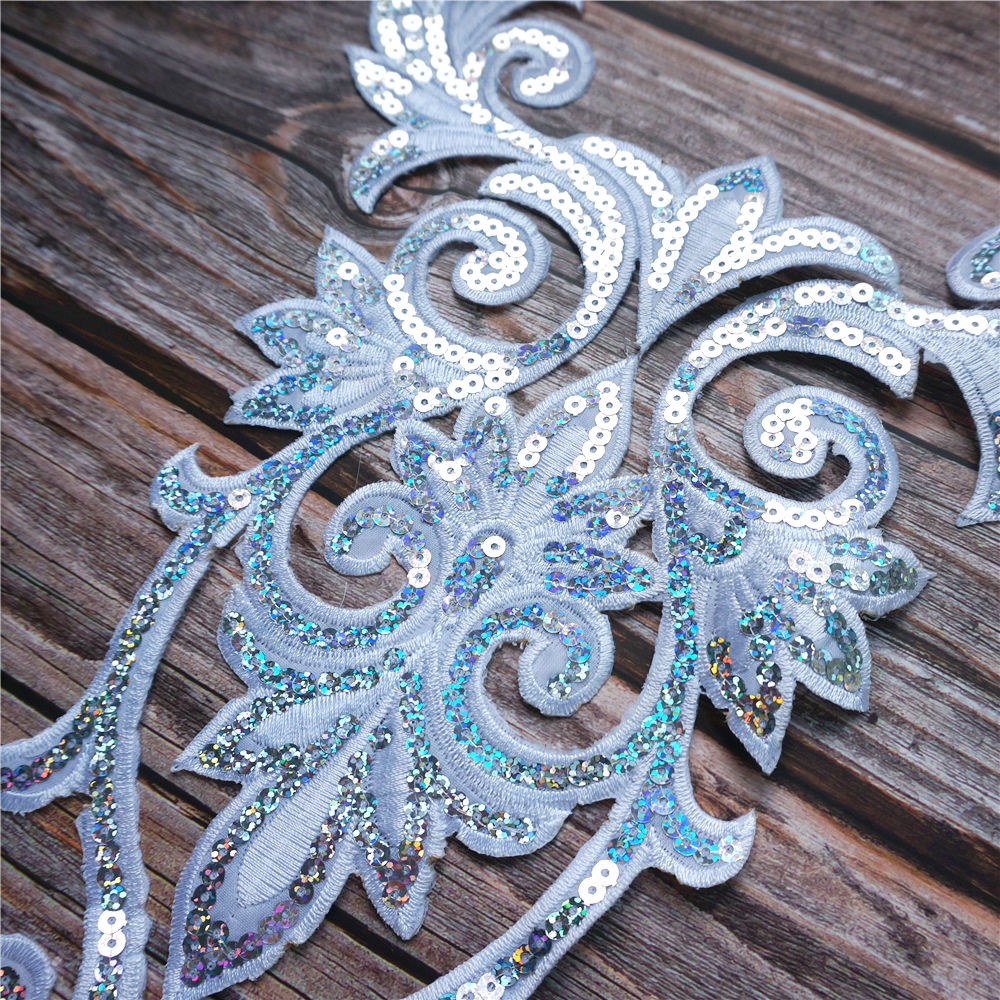 Gold Sequin Owl Embroidered Fabric Trims Wedding Gown Appliques Mesh Sew Patches
