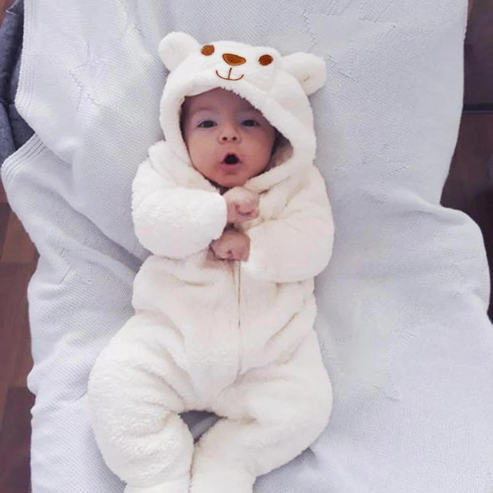 Newborn Infant Baby Boy Girl Hooded Cartoon Flannel Romper Jumpsuit Warm Clothes