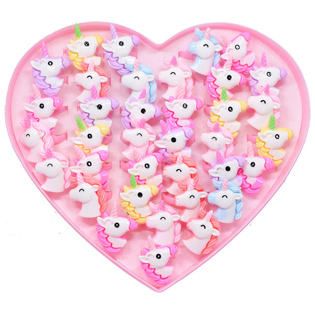 12 piezas/lote dibujos animados acrílicos unicornio caballo niños dedo anillos fiesta favores disfraz cumpleaños fiesta regalos para invitados bebé fiesta suministros