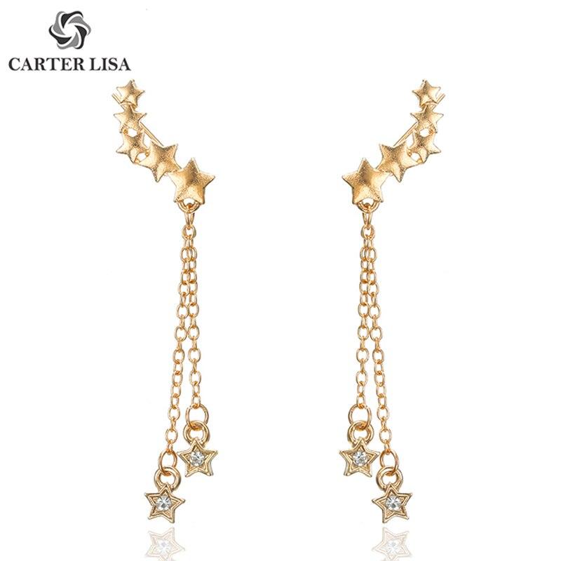 CARTER LISA Stylish Shiny Personality Geometric Long Gold Stars With Rhinestones Tassel Drop Dangle Earrings Jewelry HLEZ63000