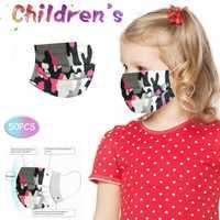 Mascarillas faciales antipolvo de camuflaje rosa para niños y niñas, 10-10-100 Uds.