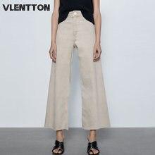 Весна Осень 2020 винтажные Широкие джинсовые брюки с высокой