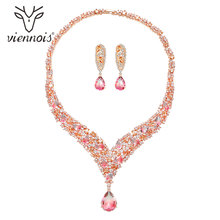 Viennois Trendy Jewelry Set for Women Colorful Zirconia Necklace and Earrings Jewelry Set Fashion Jewelry Set for Women
