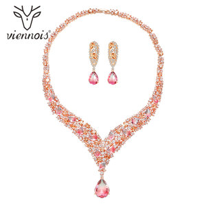 Image 1 - Viennois Trendy Jewelry Set for Women Colorful Zirconia Necklace and Earrings Jewelry Set Fashion Jewelry Set for Women