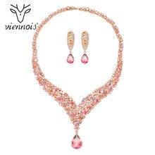Viennois عصري طقم مجوهرات للنساء ملون سلسلة مرصعة بحجر الزركون وأقراط طقم مجوهرات مجموعة أزياء و مجوهرات طقم مجوهرات للنساء