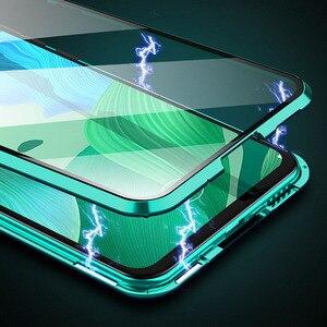 Image 2 - 360 magnético metal duplo lado vidro caso do telefone para huawei honra 20 20 pro 9x 9x pro 10 lite y9 prime 2019 p inteligente z p30 capa