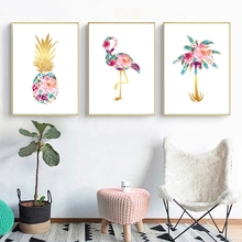 Colorful Palm Pineapple Flamingo Prints Abstract Flowers Wall Art Canvas Painting Tropical Posters Aesthetic Room Decorative
