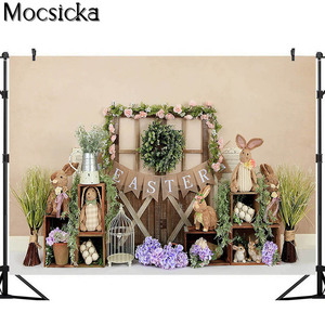 Image 3 - Mocsick Spring Easter Garden Photography Backdrops Bunny Flowers Decorations Children Photo Booth Background For Photo Studio