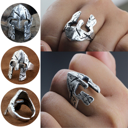 Men Spartan Helmet Ring Sparta Spartacus Warrior Skull Mask Rings Norse Mythology Biker Viking Jewelry Size 6-12