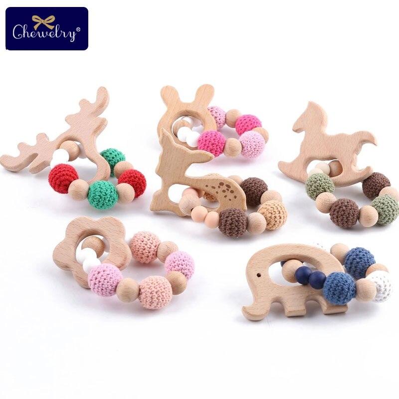 Let's Make Wood Teether Bracelet 1pc Food Grade Beech Animal Wooden Sika Deer Crochet Beads DIY Jewelry Teething Accessories Toy