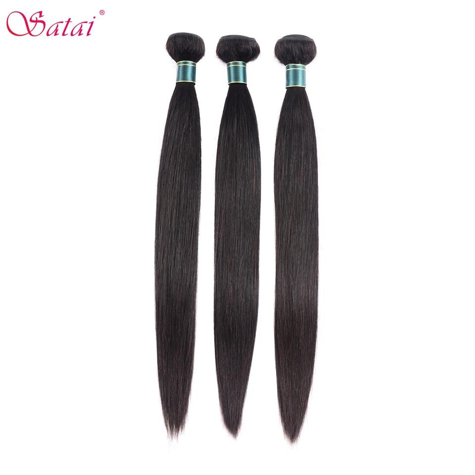 SATAI Peruvian Straight 3 Pcs Hair 100% Human Hair Bundles 8 28Inch Natural Color No Shedding Non Remy Hair Extension-in 3/4 Bundles from Hair Extensions & Wigs    1