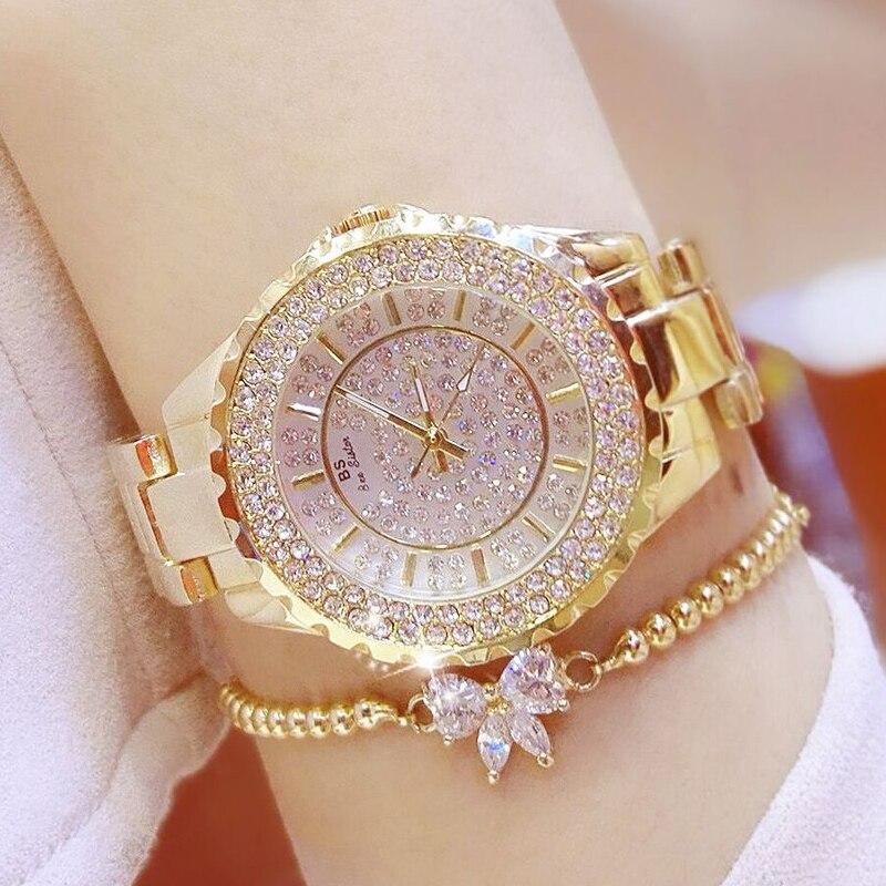 Women Watches Gold Luxury Brand Diamond Quartz Ladies Wrist Watches Stainless Steel Clock Female Mk Watch Relogio Feminino 2019