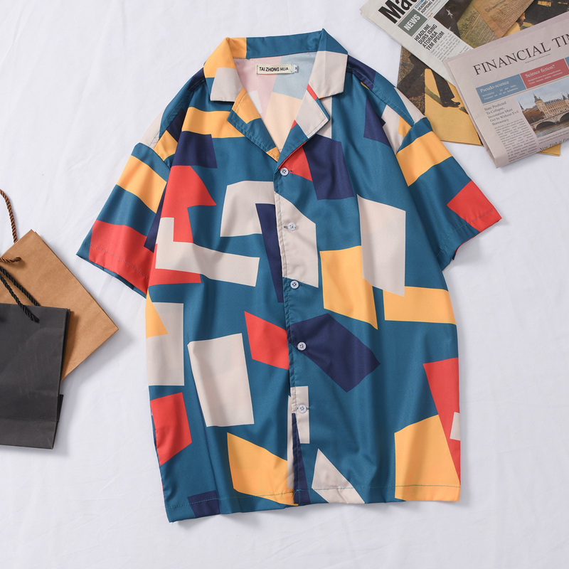 OSCN7 Casual Plaid Printed Short Sleeve Shirt Men Street 2020 Hawaii Beach Oversize Women Fashion Harujuku Shirts For Men 442